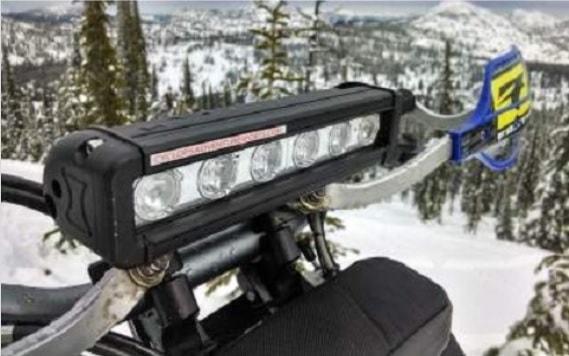 Picture of LED Light bar on dirt bike handle bars.